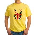 UK Victory Peace Sign Yellow T-Shirt