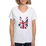 Uk Victory Peace Sign Women's V-Neck T-Shirt