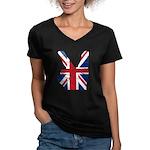 UK Victory Peace Sign Women's V-Neck Dark T-Shirt