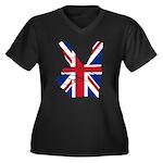 UK Victory Peace Sign Women's Plus Size V-Neck Dar