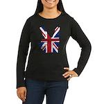 UK Victory Peace Sign Women's Long Sleeve Dark T-S