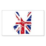 UK Victory Peace Sign Rectangle Sticker 50 pk)