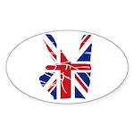 UK Victory Peace Sign Oval Sticker (50 pk)
