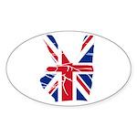 UK Victory Peace Sign Oval Sticker (10 pk)