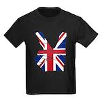 UK Victory Peace Sign Kids Dark T-Shirt