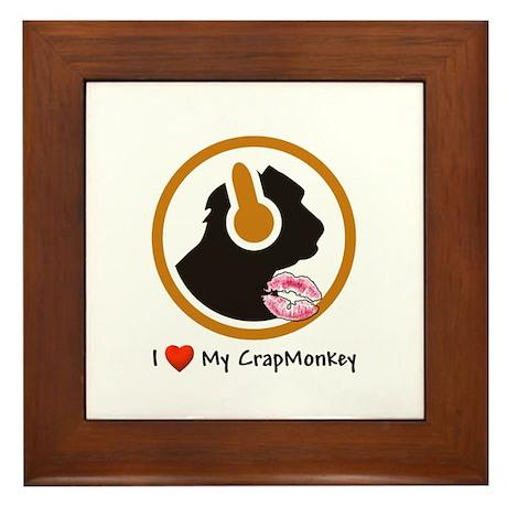 I Love My CrapMonkey Framed Tile