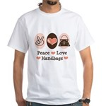 Peace Love Handbags Purse White T-Shirt