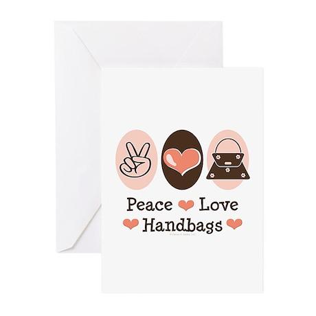 Peace Love Handbags Purse Greeting Cards (Pk of 20
