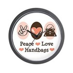 Peace Love Handbags Purse Wall Clock
