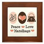 Peace Love Handbags Purse Framed Tile