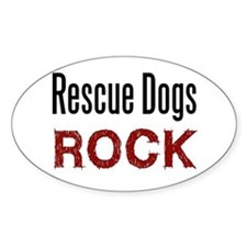 Rescue Dogs Rock Oval Decal