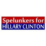 Spelunkers for Clinton bumper sticker
