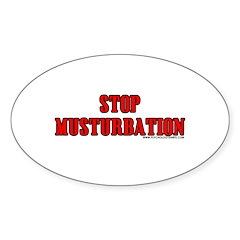 Stop Musturbation Oval Sticker (10 pk)