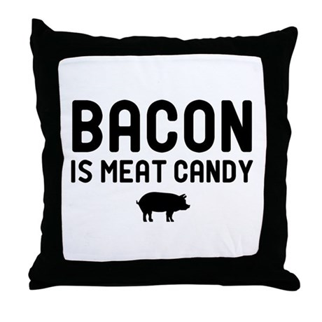 Bacon Meat Candy Throw Pillow