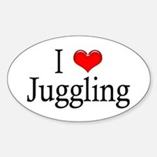 I Heart Juggling Oval Decal