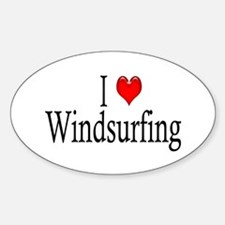 I Heart Windsurfing Oval Decal