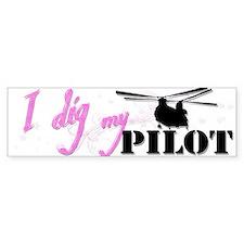 I Dig My Chinook Pilot Bumper Car Sticker