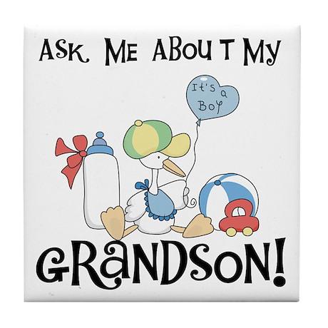 Stork New Grandson Tile Coaster