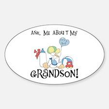 Stork New Grandson Oval Bumper Stickers