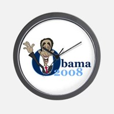 Cartoon Obama 2008 Wall Clock
