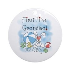 Grandma Baby Boy Ornament (Round)