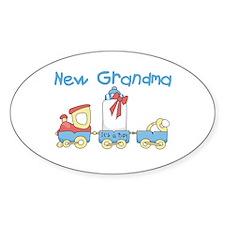 Train New Grandma Oval Decal
