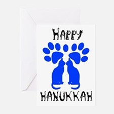 Cat Menorah 2 Greeting Cards (Pk of 10)