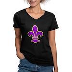 FLEUR DE LI Women's V-Neck Dark T-Shirt