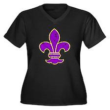 FLEUR DE LI Women's Plus Size V-Neck Dark T-Shirt