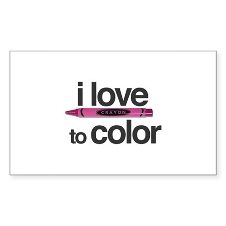 """""""Love to Color"""" Sticker (Rectangle)"""