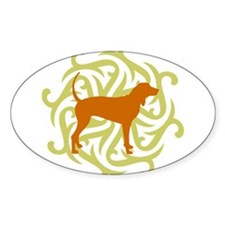 Lime & Rust Coonhound Oval Decal