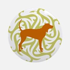 Lime & Rust Coonhound Ornament (Round)