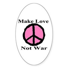 Make Love Not War Oval Decal