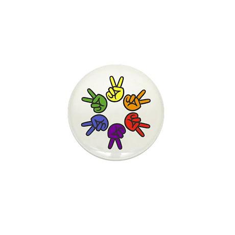 Peace Sign Fingers Mini Button
