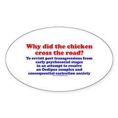 Chicken Oedipus Oval Sticker (50 pk)