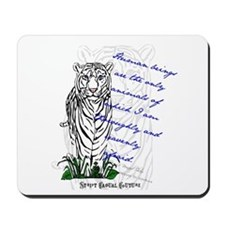 White Tiger Animal Quote Mousepad