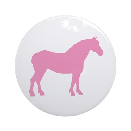 Pink Draft Horse Ornament (Round)
