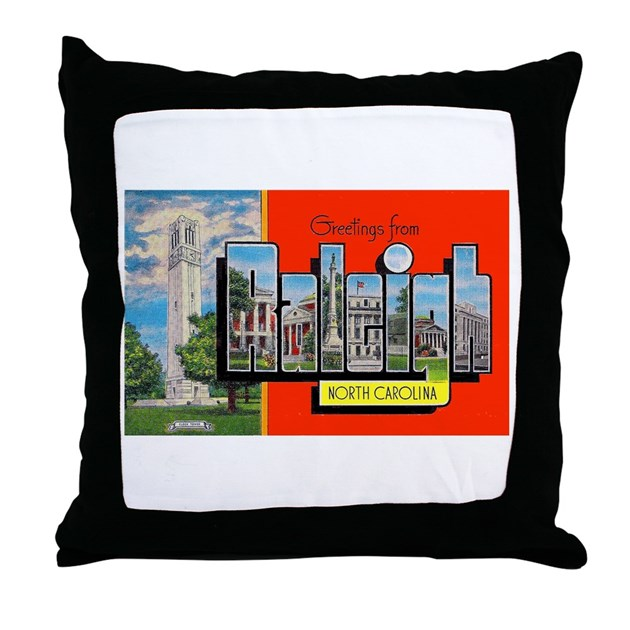 Decorative Pillows Raleigh Nc : Raleigh North Carolina Greetings Throw Pillow by w2arts