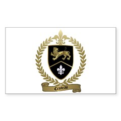 CROTEAU Family Crest Rectangle Decal