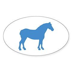 Blue Draft Horse Oval Sticker (10 pk)