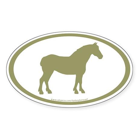 Draft Horse Oval (sage) Oval Sticker