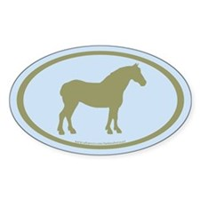 Draft Horse Oval (sage/lt.blue) Oval Decal