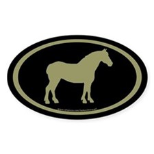 Draft Horse Oval (sage/blk) Oval Decal