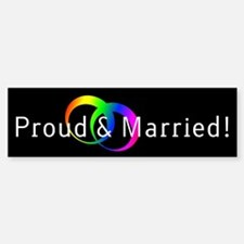 Gay, Proud and Married Bumper Car Car Sticker