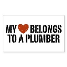 My Heart Belongs to a Plumber Rectangle Decal