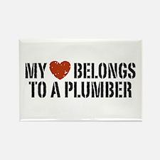 My Heart Belongs to a Plumber Rectangle Magnet