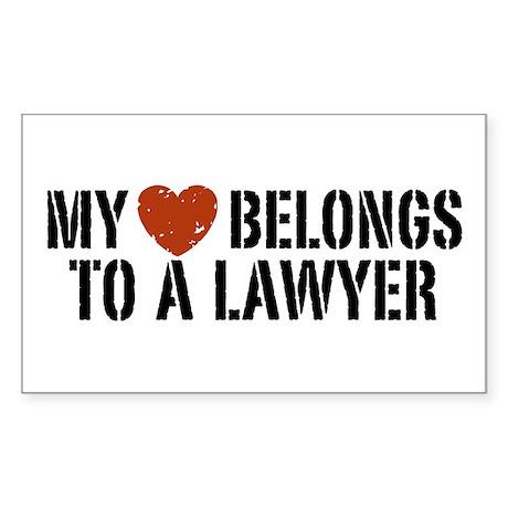 My Heart Belongs to a Lawyer Rectangle Sticker