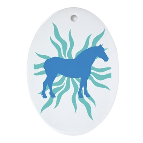 Blue Star Draft Horse Oval Ornament