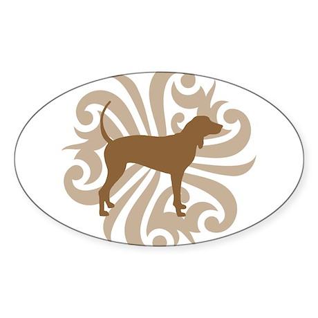 Brown & Tan Coonhound Oval Sticker