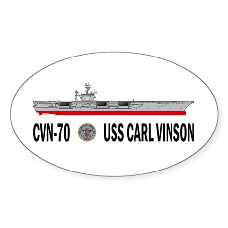 USS Vinson CVN-70 Oval Sticker (50 pk)